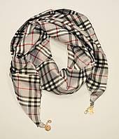 Стильный платок, косынка Burberry серая, атлас