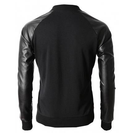 Мужская кофта бомбер с кожаными рукавами черная, фото 2