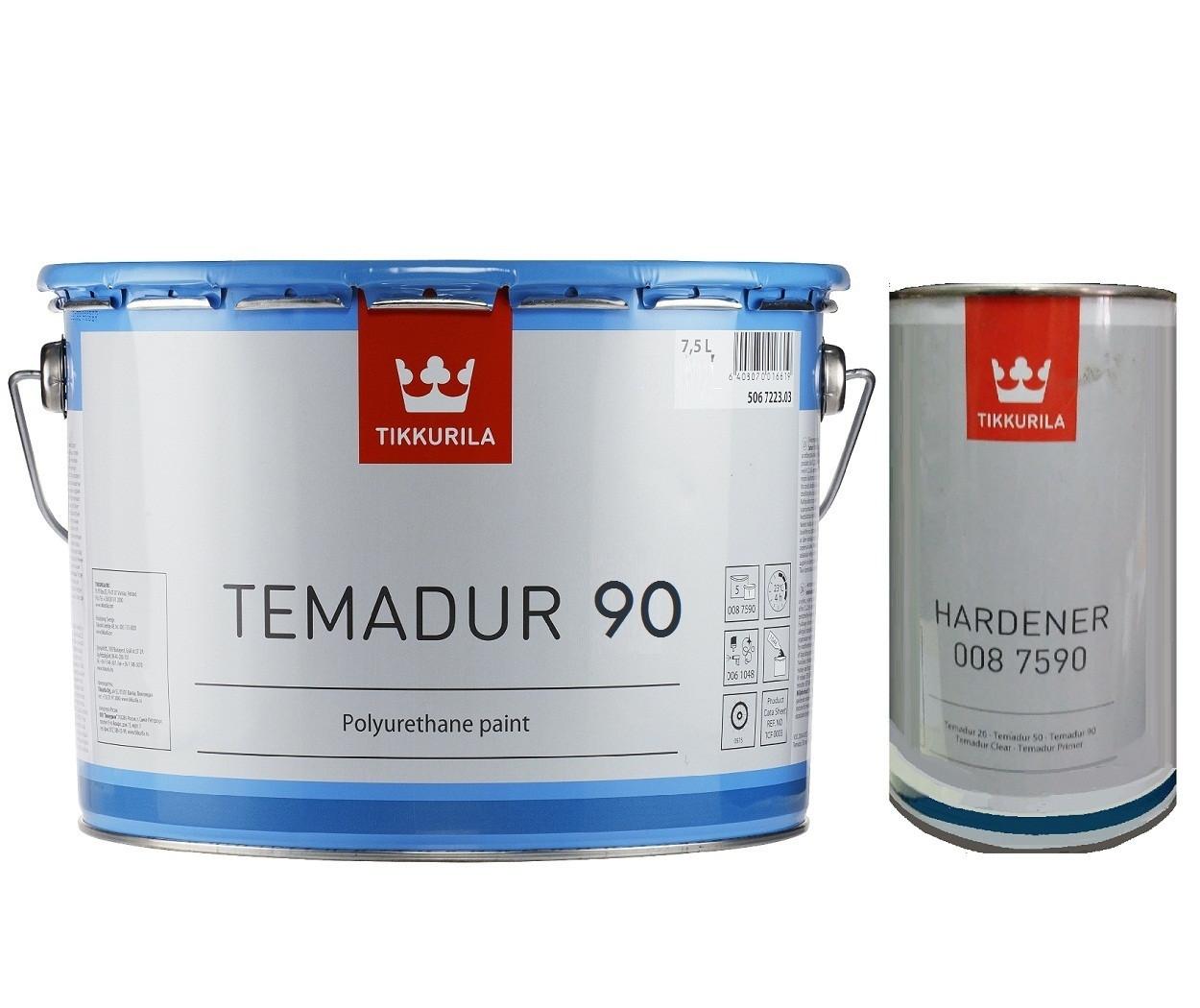 Эмаль полиуретановая TIKKURILA TEMADUR 90 износостойкая, TСL-транспарентный, 7.5+1.5л
