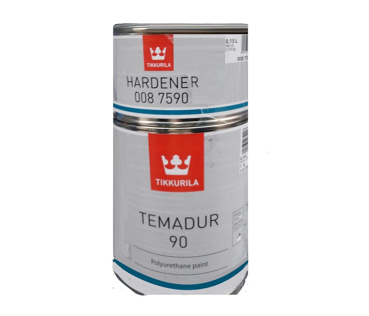Эмаль полиуретановая TIKKURILA TEMADUR 90 износостойкая, TНL-металлик мелкое зерно, 0,75+0,15л