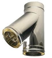 Двостінний сендвіч трійник 45° ф180/250 (нержавіюча сталь 0,8 мм в нержавіючій сталі) на димар