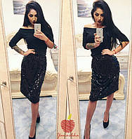 Комплект, в котором невозможно остаться незамеченной, кофта итальянский трикотаж, юбка пайетки 2 цвета яс№591