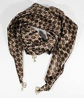 Стильный платок, косынка Gucci цвета кофе, атлас