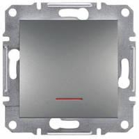 Выключатель 1-клавишный с подсветкой, сталь - Schneider Electric Asfora