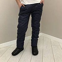 Штаны детские стеганые для мальчика 9-14 лет,синие, фото 1