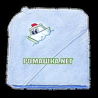 Детское махровое (очень длинная петля) уголок-полотенце после купания 95х95 см ТМ Ярослав 3073 Голубой