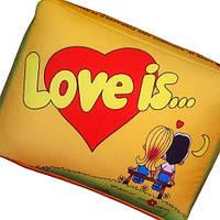 Подушка подарок Love is желтая