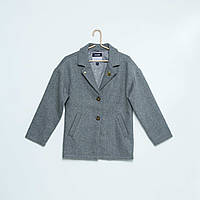 Пальто для девочек демисезонное серого цвета +трикотаж