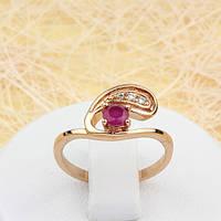 Кольцо с фионитом цвета красного корунда Ювелирная бижутерия 18k Размер 17