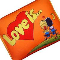 Подушка подарок Love is оранжевая