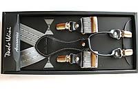 Подтяжки кожаные 'Topgal EXCLUSIVE' серые с узором