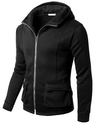 Толстовка мужская с карманами карго черного цвета, фото 2