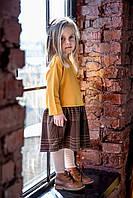 Стильное платье на девочку. Горчичное с коричневой юбкой. Размеры: 86, 92, 110 см , фото 1
