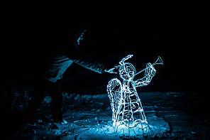 Ангел новогодний высота 120 см,диаметр 50 см; гирлянда наружная LED 100 лампочок
