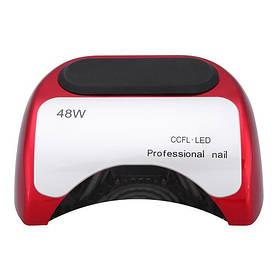 Гібридна лампа Professional nail 48W CCFL+LED для манікюру і педикюру, червона