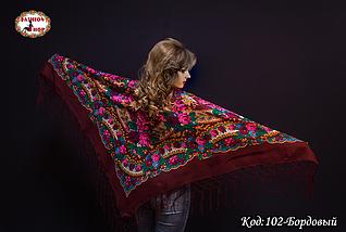 Бордовый украинский платок Королева, фото 3