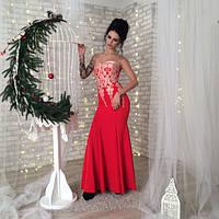 Платье женское длинное без бретелей с кружевом  P4724