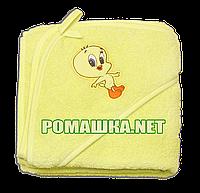 Детское махровое (очень длинная петля) уголок-полотенце после купания 95х95 см ТМ Ярослав 3073 Желтый