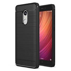 Чехол накладка для Xiaomi Redmi Note 4 силиконовый, Carbon Fibre, Черный
