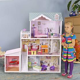 Мега большой игровой кукольный домик для барби Beverly + гараж 124см!