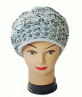 Берет с козырьком(кепка) женская вязаная Снежана шерсть натуральная цвет серый светлый