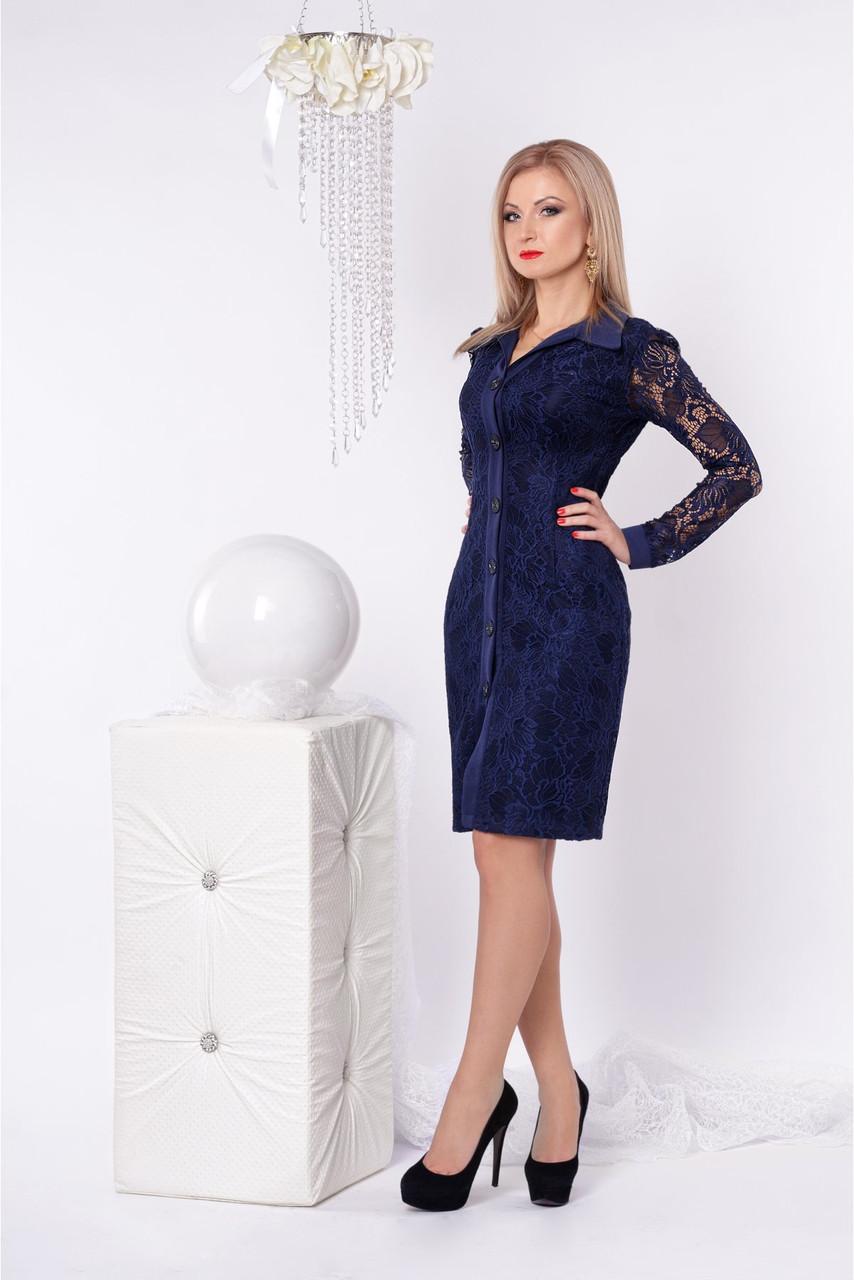Гипюровое стильное и модное платье приталенного силуэта с воротничком