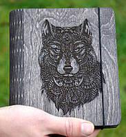 """Блокнот из дерева """"Волк"""" - Wolf, А6"""