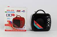 Колонка с радио и USB SPS WS 575: TF/USB/3,5 mini jack, батарея 1000 мАч, FM радио, 5,5х4,8х5,2 см