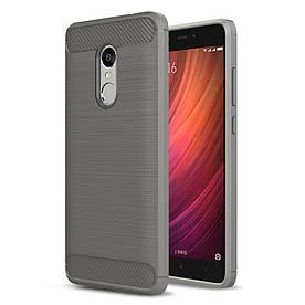 Чехол накладка для Xiaomi Redmi Note 4 силиконовый, Carbon Fibre, Серый