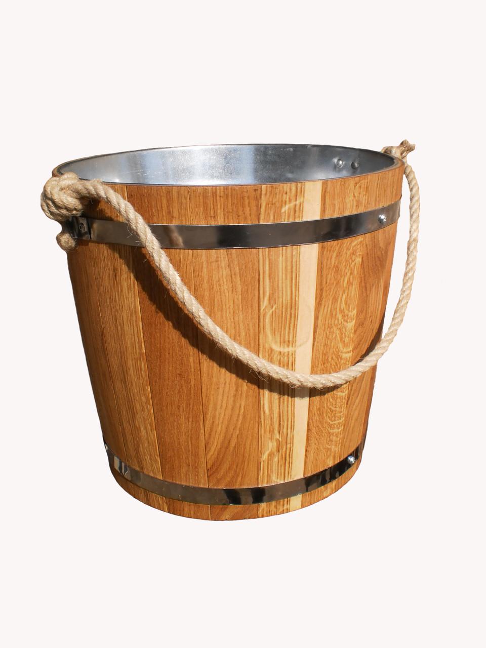 Ведро дубовое для бани, 12 л с металлической вставкой