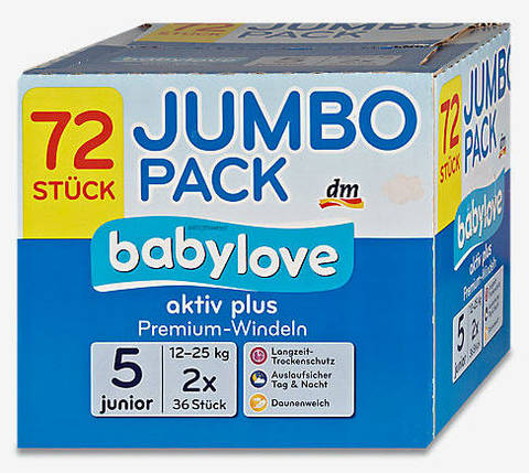 Подгузники Babylove 5 junior 12-25кг 2*36шт, фото 2