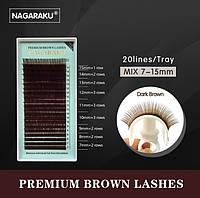 Ресницы для наращивания на ленте Nagaraku коричневые, mix