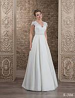 Элегантное свадебное платье  А - силуэта с оригинальным гипюром на корсете