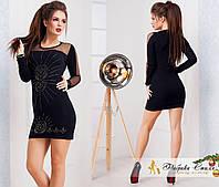 Клубное черное платье со стразами