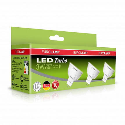 Промо-набір EUROLAMP LED Лампа TURBO NEW MR16 3W GU5.3 4000K акція 3in1 (20), фото 2