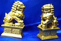 Собаки Фу пара каменная крошка бронза (10,5х6х4 см)