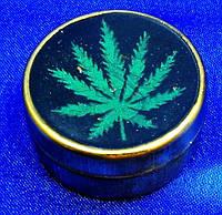 Табакерка бронзовая Конопляный лист (d-3,5 см)
