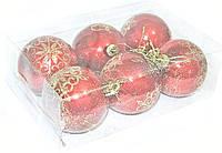 Украшения на елку шары красные набор 6 шт