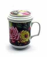 Чашка заварочная с ситом (330мл.) (BFC3056) Розы (h-13cм, d-7,5см)