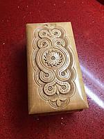 Шкатулка сувенірна дерев'яна ручної роботи інхрустована металом, фото 1