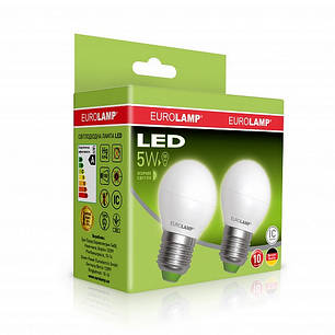 """Промо-набір EUROLAMP LED Лампа ЕКО серія """"Е"""" G45 5W E27 3000K акція 1+1, фото 2"""