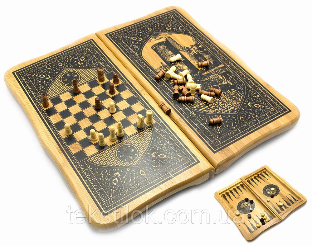Шахматы, нарды бамбук,набор 2 в 1.