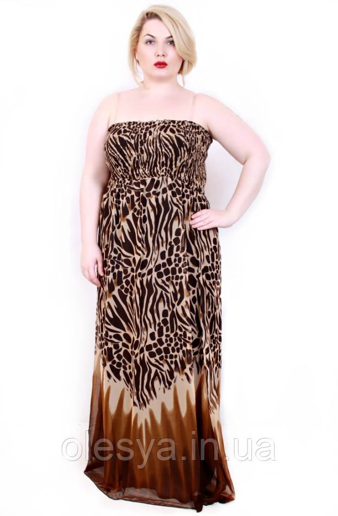Сарафан Леопард без брителей коричневый