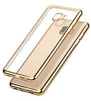 Прозрачный силиконовый чехол для Samsung G570F Galaxy J5 Prime (2016) с глянцевой окантовкой Золотой