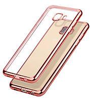 Прозрачный силиконовый чехол для Samsung G570F Galaxy J5 Prime (2016) с глянцевой окантовкой Розовый