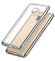 Прозрачный силиконовый чехол для Samsung G570F Galaxy J5 Prime (2016) с глянцевой окантовкой Серебряный