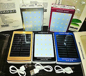 Smart Power Bank 30000mAh + фонарь 20LED (2 USB) портативное зарядное