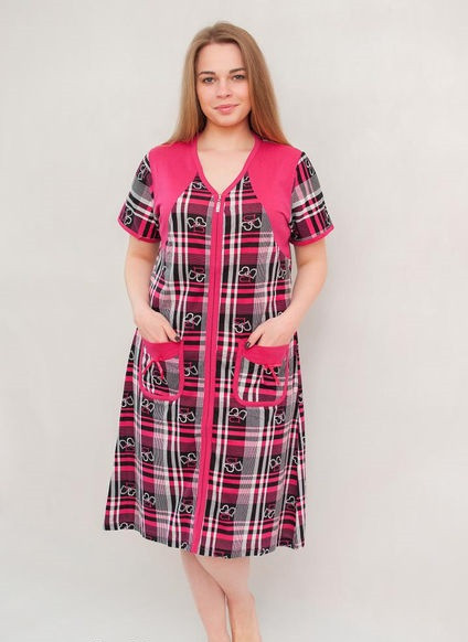 Жіночий халат річний збільшеного розміру червоно-біла клітка