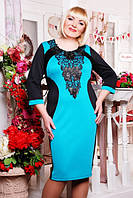 Платье женское больших размеров Джиллиан черный+бирюза 50, 52, 54, 56, 58 размеры