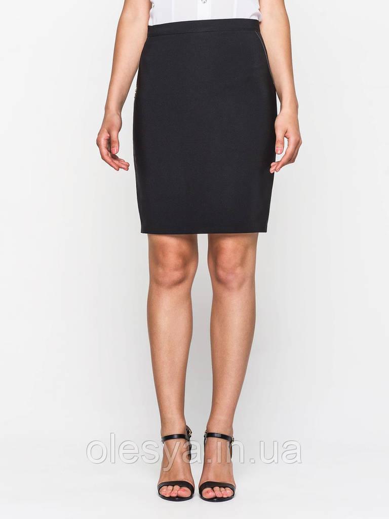 Юбка большого размера классическая 60129, юбка прямая, юбка до колена, черная юбка, для офиса, для школы
